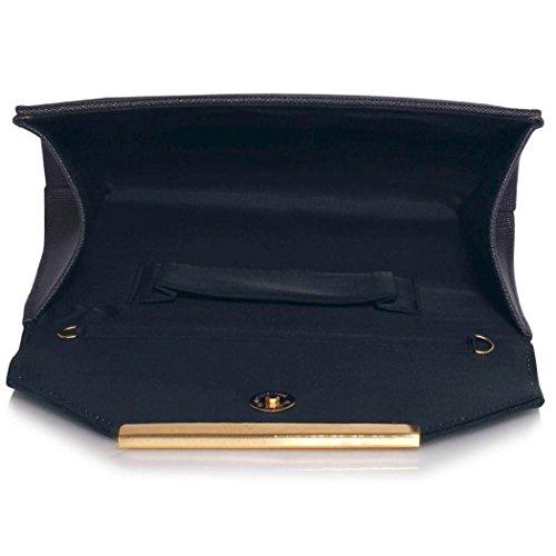 Navy Faux qualité embrayage Gris féminin haute style Embrayage à LeahWard main Enveloppe à CW293 cuir Sac de Bourse Bleu Embrayage 1nUxRq