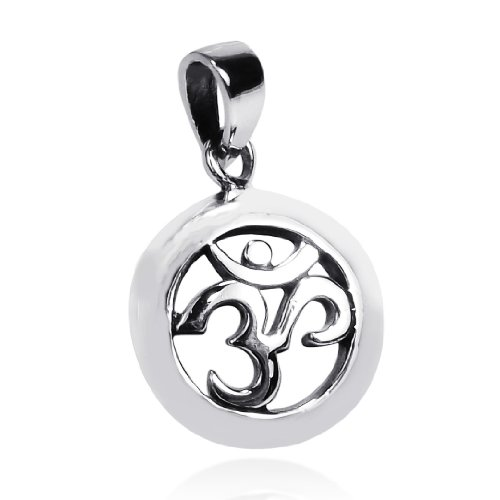 AeraVida Round 20 mm Aum or Om Prayer Sign .925 Sterling Silver Pendant