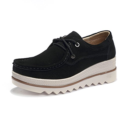 Pictures of HKR Women Lace Up Suede Platform Sneakers 1