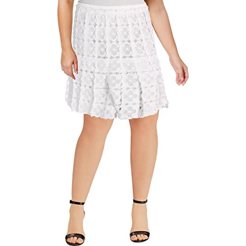 Elie Tahari Womens Tyler Lace Knee-Length A-Line Skirt White 14