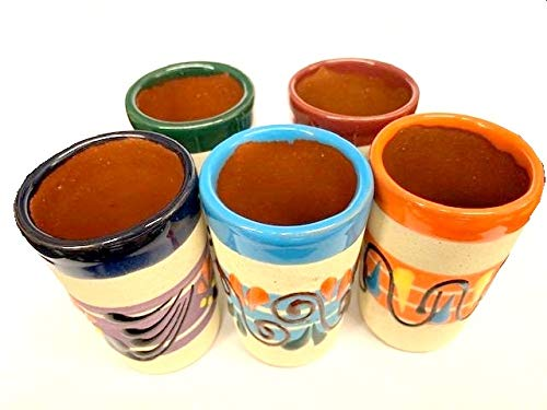 Made In Mexico Hand Painted Pottery Barro Clay Tequila Shots Glasses Set of 5 Assorted - Vaso Tequilero from Unknown