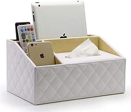 Faneli - Soporte para mando a distancia, 6 ranuras, de piel sintética, con caja de pañuelos, de piel sintética, con mando a distancia, organizador de escritorio: Amazon.es: Oficina y papelería