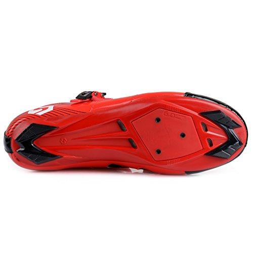 Smartodoors Fahrradschuhe mit Carbon Sohlen oder Nylon Tpu Sohlen für Straße und MTB Rot / Schwarz B für Straße