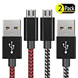 PS4 Controller Charger Charging Cable – 2 Pack 10FT Nylon Braided Micro USB 2.0 High Speed Data Sync Cord for Playstation 4, PS4 Slim/Pro, Xbox One S/X Controller, Android Phones (2 Pack)