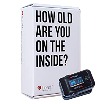 Image of iHeart Internal Age Health Monitor, Fingertip Health and Fitness Tracker. Measure Biological Age, Pulse Wave Velocity, Aortic Stiffness, Sp02 and Heart Rate BPM with our iOS and Android App