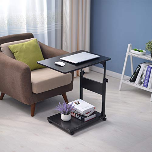 Fulijie Beside Table Height Adjustable Mobile Laptop Stand Portable Cart Tray Side Table Studying Desk (Black)