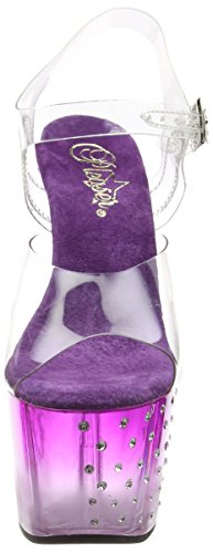 Pleaser Stardust 708t - Sandalias Mujer Transparente - Transparent (Clr/Purple Clr)