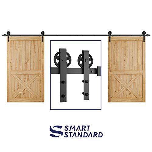 16ft Double Door Sliding Barn Door Hardware Kit - Smoothly and Quietly - Easy to Install - Includes Step-by-Step Installation Instruction -Fit 42''-48'' Wide Door Panel(Big Industrial Wheel Hanger) by SMARTSTANDARD (Image #7)