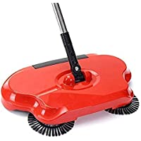 Weltime Easy Use Auto Spin Hand Push Sweeper Mop Broom Dust Bin 360 Rotary Sweepers Dustpan Household Cleaning Tools for Floor, Sweeper Broom with Handle (Multicolour)
