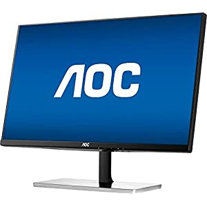 "2017 AOC 21.5"" Full HD IPS LED Monitor with 1920 x 1080 resolution at 60Hz, 5 ms, 178° / 178°, 250 cd/m², 50,000,000:1, HDMI and VGA inputs, Black & Silver"