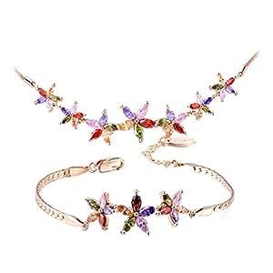 Sistema de la joyería de la manera de cristal Austríaco Bañado en oro de Rose plateado de delicado traje de flor de oro