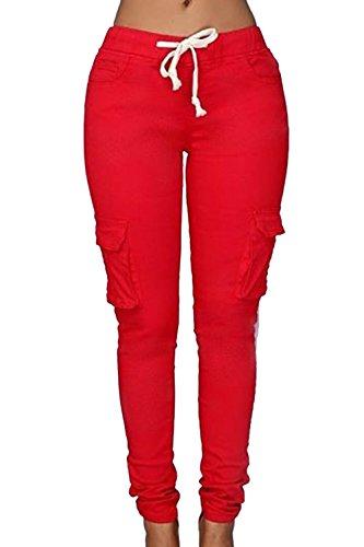 Bodycon Casual pantalones de la mujer con bolsillos Red