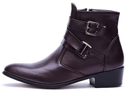 Zipper PU Suede Boots Odema Men's Toe Leather Pu Chelsea Brown Buckle Pointed Ankle wHqqYt5xa