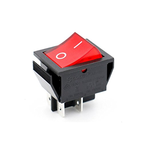 Baomain Soken Red Light DPST ON/Off Snap in Boat Rocker Switch 4 Pin 16A/250V UL TUV List 5 Pack