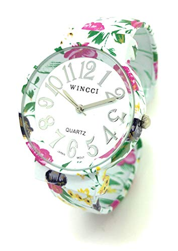 Ladies Elegant Floral Flower Metal Bangle Cuff Fashion Watch White Dial Wincci (Style -