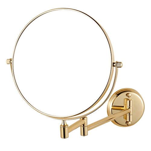 GURUN 8 Inch Double Sided Wall Mounted Makeup Mirror with 10x Magnification,Gold Finish M1306J -