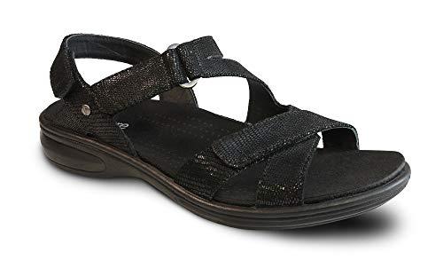 Leather Zanzibar (Revere Woman 34ZANZ Black/Lizard Leather 9 Medium (B) US)