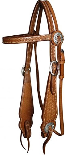 (Showman Horse Size Basket-weave MEDIUM OIL Tooled Wide Cheek Leather Headstall Show Bridle Reins)