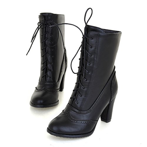 Ankle Boots Pointed Black Lace Chunky Toe Boots up Vintage Leather Heel Oxfords Women's Short fpEwxqx