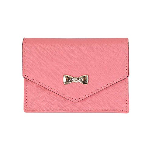 Women's Genuine Leather Name Card Holder Card Case Cute Business Card Wallet Indi Pink
