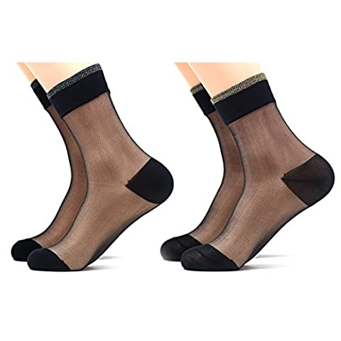 Slocyclub Women's Stylish Sheer Ankle Hosiery-Mesh Sock 2 Packs - Designer Sheer
