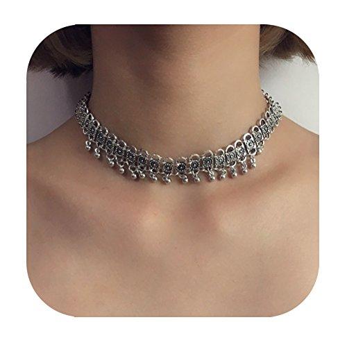 (Eoumy Vintage Ethnic Flower Chain Choker Beads Tassel Necklace Bohemian Flower Chain Choker Necklace Women)