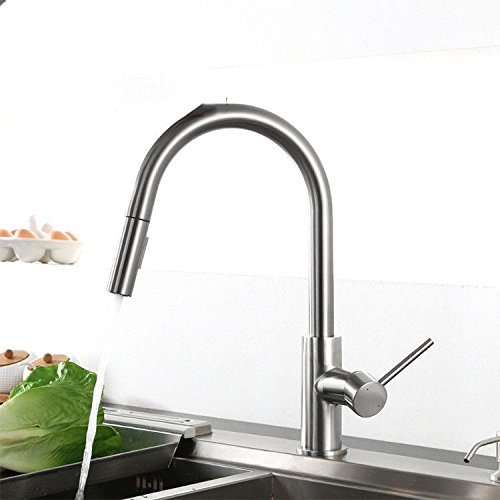 SADASD Modern Bathroom Basin Faucet Black redatable Kitchen Sink Tap Stainless Steel Faucet Single Hole Single Handle Ceramic Valve Hot And Cold Water Mixer Tap With G1 2 Hose