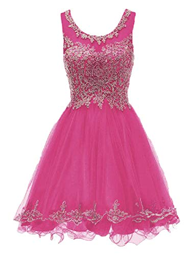 Scoop Neck A Line Short Beaded Junior Dresses for Special Occasions Fuchsia,16
