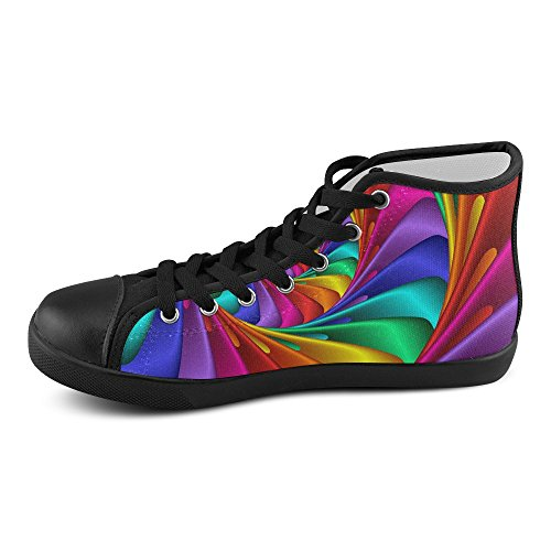 Artsadd Psychedelic Rainbow Spiral High Top Canvas Shoes For Women(Model002) sMYQHhKZuN