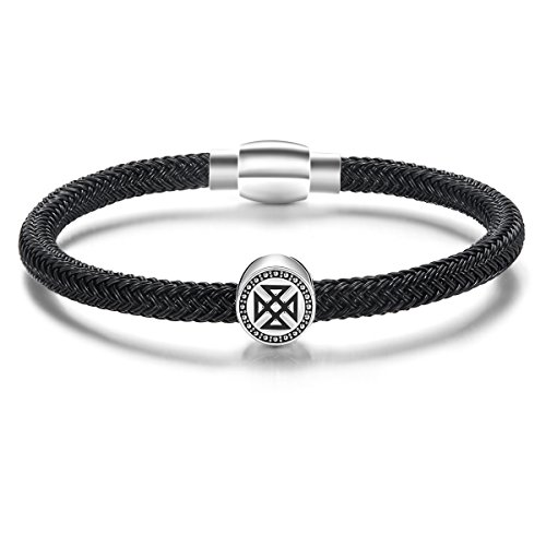Carleen Eternity 925 Sterling Silver Genuine Mens Leather Bracelet Braided Rope Energy Charm Magnetic Clasp, 7.5