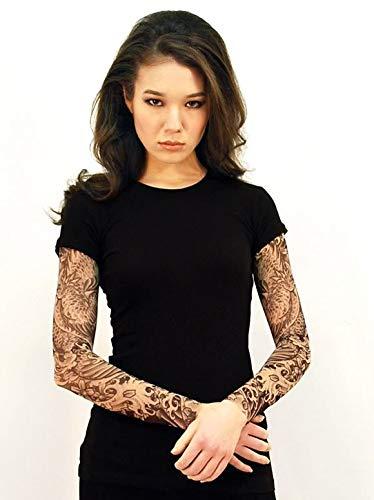 0b82086d9 Wild Rose Dragon Ladies Tattoo Sleeve Shirt Blackwork, Black ...