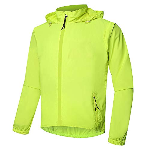 Dooy Men's Windbreaker Cycling Rain Jacket,Lightweight Waterproof Detachable Raincoat,Outdoor Sports Windbreaker for Running. (Aisa-M, Yellow)