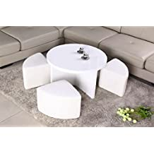 Round white coffee table w/ 4 ottomans in a glossy finish