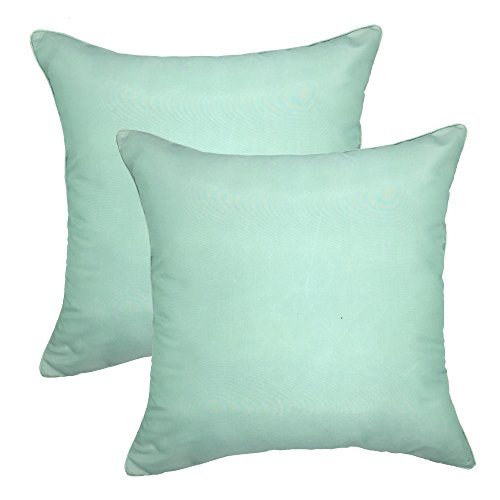 YOUR SMILE - Satin Chameleon Gradually Changing Color Decorative Throw Pillow Case 18''x18'',Solid Color , 2 Pack (Mint)