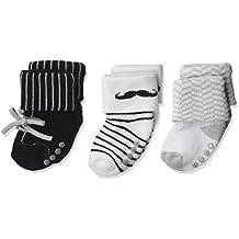 "Luvable Friends Baby Boys' ""Mustache Prints"" 3-Pack Socks"