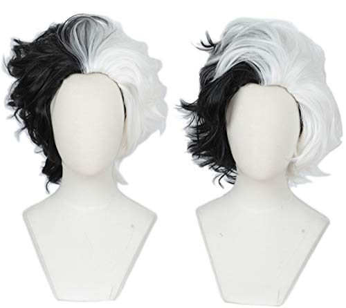 Linfairy Half White and Half Black Two Tone Wig Halloween Costume Cosplay Wig for Women