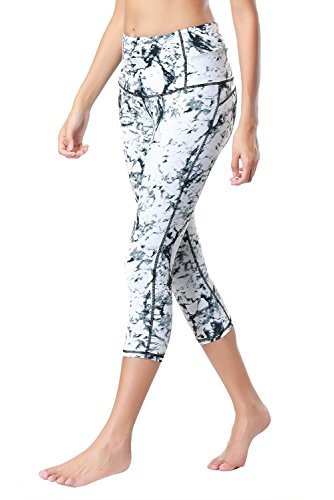Dragon Fit Compression Yoga Pants Power Stretch Workout Leggings With High Waist Tummy Control, 03white-capri, Medium