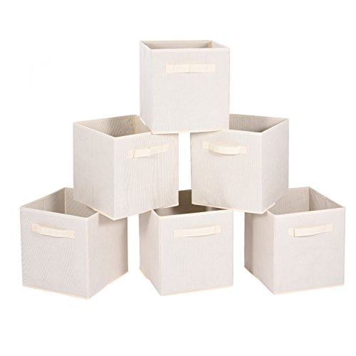 MaidMAX Cloth Storage Cubes Bins Baskets Containers with Dual Handles for Home Closet Nursery Drawers Organizers, Flodable, Beige, Set of 6 (Laundry Basket Storage Shelves)