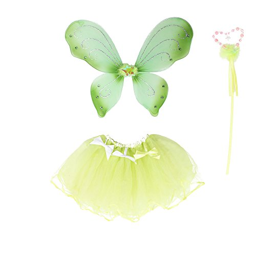 Fairy Wing Princess Tutu Costume Set For Girls Dress up and Ballet Dance - Green -