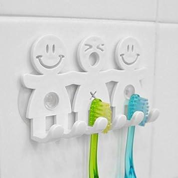 Sonrisa cara toalla de baño cocina cepillo de dientes titular de pared Sucker gancho soporte: Amazon.es: Hogar