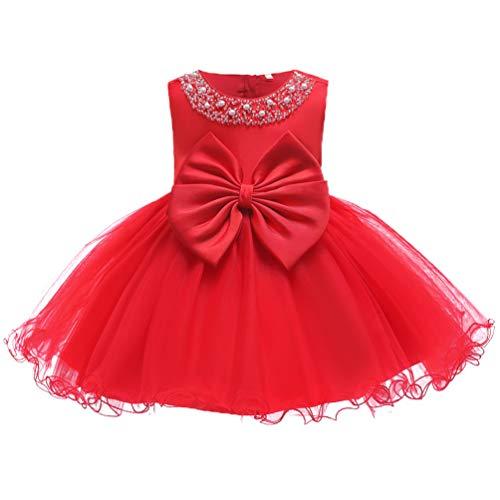 Infant Baby Girl Formal Bridesmaid Birthday Ball Gown Sleeveless Ruffles Dress red 18M