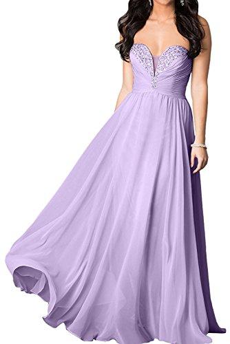 Partykleider Festlichkleider La Kleider Abendkleider Rock Chiffon Elegant Lang Lilac linie Champagner Jugendweihe mia A Braut 8Trqwz8