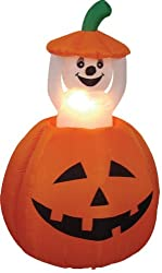 4 Foot Animated Halloween Inflatable Pumpkin and Ghost Yard...