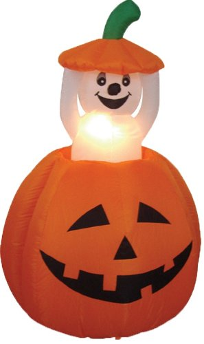 4 Foot Animated Halloween Inflatable Pumpkin and Ghost LED Lights Decor Outdoor Indoor Holiday Decorations, Blow up Lighted Yard Decor, Giant Lawn Inflatables Home Family Outside Decor