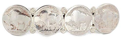 Native-Bay $200Tag Vintage Style Buffalo Nickel Certified Silver Navajo Nickel Hair Barrettes 10337 Made by Loma Siiva
