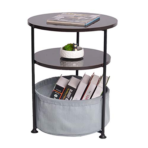 Qwork 3-Tier Small Round End Table/Side Table/Bedside Table/Nightstand with Fabric Storage for Toys, Books, Pet Bed, in Bedroom/Living Room/Small - Table Living Fabric End Room