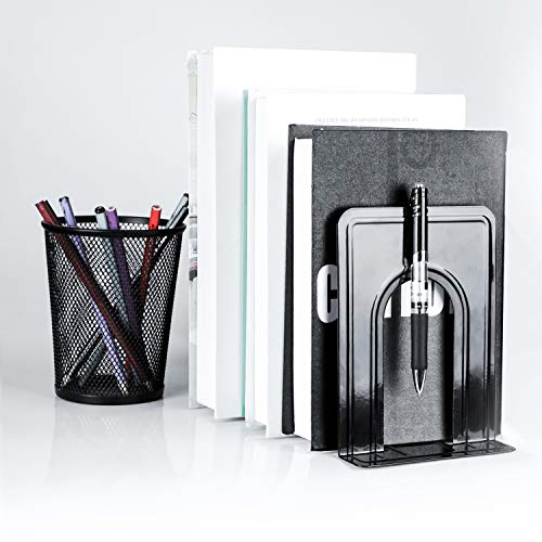 Book Stopper for Books Movies 6.5x5x5.75 inches Black Non Skid Book Support Heavy Duty Magazines 6 Pairs//12 Pieces Video Games MaxGear Universal Economy Bookends Metal Book Ends for Shelves
