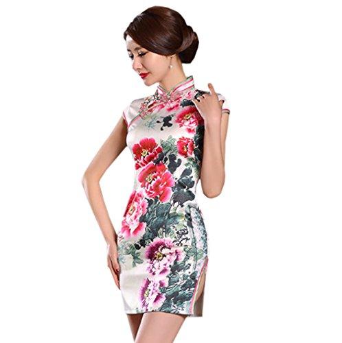 Floral Court Robe Chinoise Motif Rétro Cheongsam Montant Cénémonie Qipao Acvip De Avec Col Femme Fendu zwYZIvPq