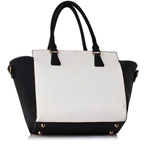 TrendStar - Bolso de tela para mujer Black/White Handbag