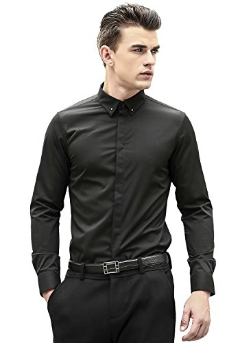 sual Long Sleeve Slim Fit Button Down Dress Shirts 32 Bla L (Long Sleeve Two Button Rugby)